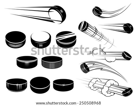Ice hockey pucks set in cartoon style with motion trails and clouds isolated on white for sports design - stock vector