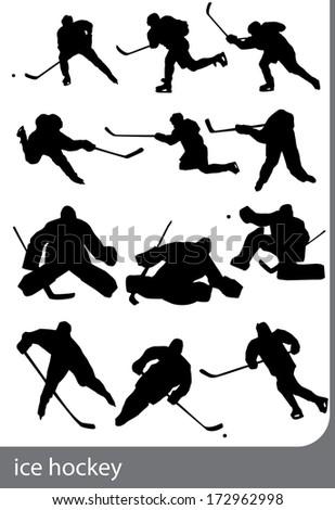 ice hockey silhouettes - stock vector