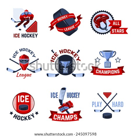 Ice hockey sport league champions emblems set isolated vector illustration