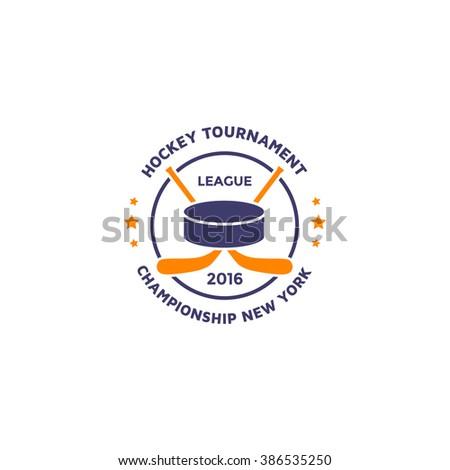 Ice hockey vector emblem template. Hockey sport logo. - stock vector
