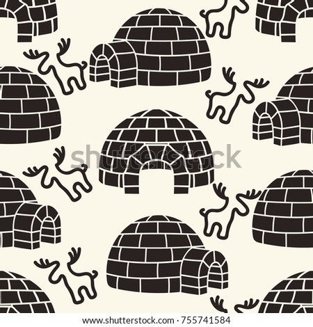 Ice house igloo  deer vector color seamless pattern  House from ice blocks  design for. Ice House Igloo Vector Color Seamless Stock Vector 755718481