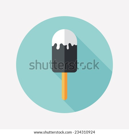 Ice lolly flat round icon with long shadows. - stock vector