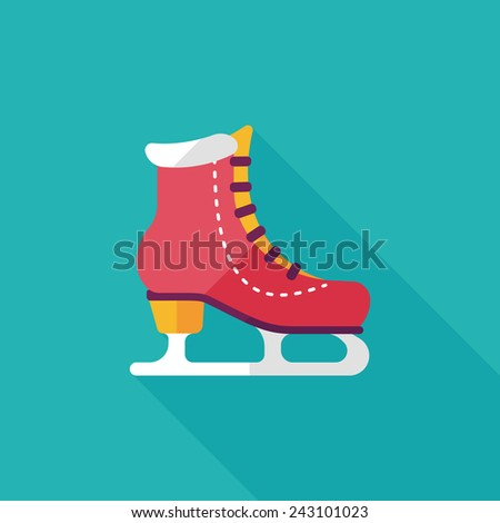 ice skate flat icon with long shadow, eps10