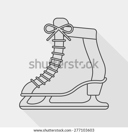 ice skate flat icon with long shadow, line icon