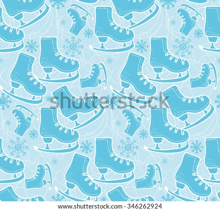 Ice skate hand drawn seamless vector pattern