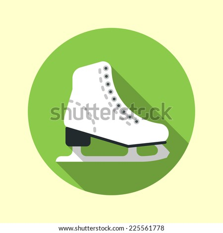 Ice skate icon. Long shadow flat design. Vector illustration. - stock vector