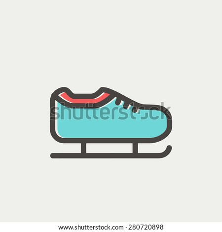 Ice skate icon thin line for web and mobile, modern minimalistic flat design. Vector icon with dark grey outline and offset colour on light grey background. - stock vector