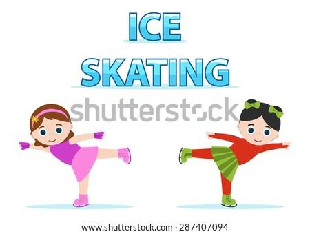 ice skaters little girls, cold sport - stock vector