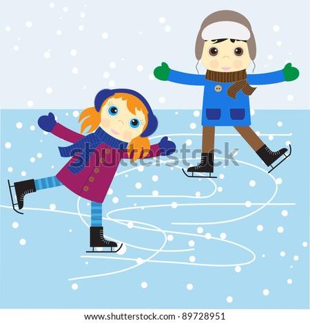 Ice skating boy and girl. vector illustration. - stock vector