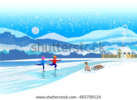 Ice skating boy and girl. Vector of winter landscape.