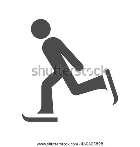Ice skating icon in black and white grey single color. - stock vector
