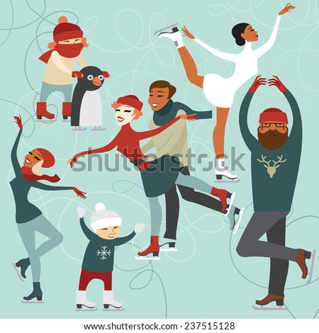 Ice skating people set of cartoon characters - stock vector