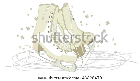 ice skating shoes under snow - stock vector