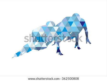 Ice Speed Skating Silhouette on white background - stock vector