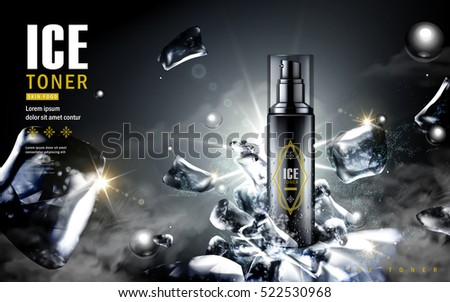 ice toner ad, contained in black spray bottle with ice cube elements, black background 3d illustration