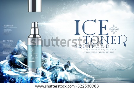 ice toner contained in light blue spray bottle, mountain background and iceberg elements, 3d illustration