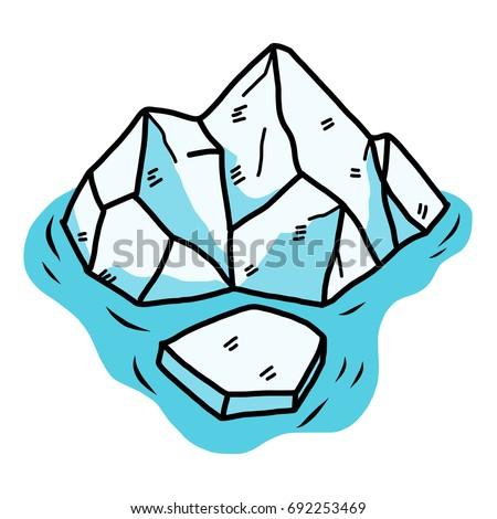 iceberg cartoon vector illustration hand drawn stock vector 2018 rh shutterstock com penguin iceberg clipart iceberg clipart black and white