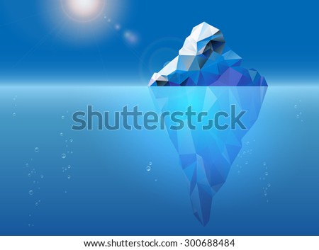 Iceberg floating on the sea surface, sun and air bubbles - vector illustration - stock vector