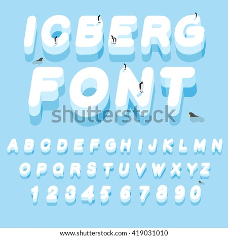 Iceberg font. 3D letters of ice. Ice alphabet letter. ABC of snow. Large cold ice. Penguins Animals of the Arctic. Animals Antarctica. Walruses and seals inocean. Flora of North Pole - stock vector