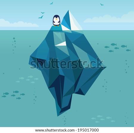 Iceberg in the ocean - stock vector