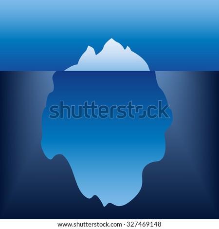 Iceberg in the ocean. Vector illustration. - stock vector