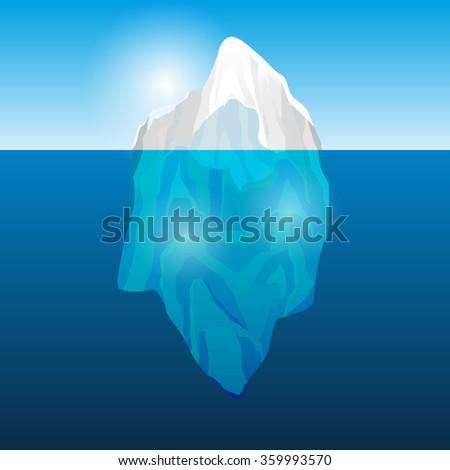 Iceberg in the ocean, vector illustration - stock vector