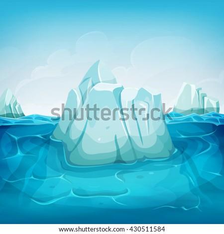 Iceberg Inside Ocean Landscape/ Illustration of a cartoon iceberg block floating on deep polar ocean, with water waves behind and blue sky background - stock vector