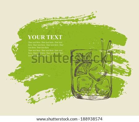 Iced tropical cocktail with mint on green grunge background - stock vector