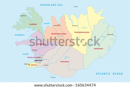 iceland administrative map - stock vector