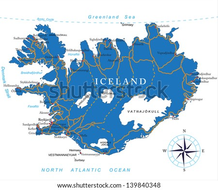 Iceland map - stock vector