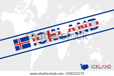 Iceland map flag and text illustration, on world map
