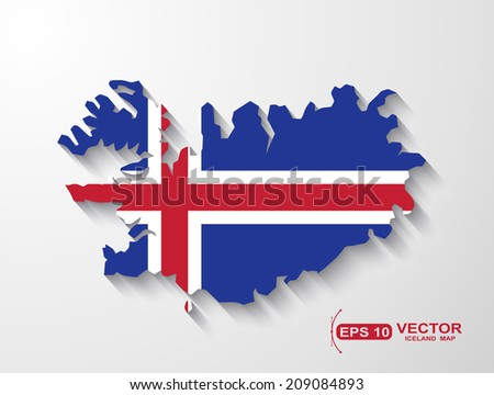 Iceland map with shadow effect
