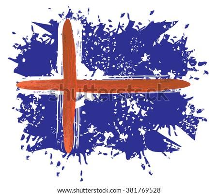 Iceland national flag - artistic abstract grunge color splash vector illustration - stock vector