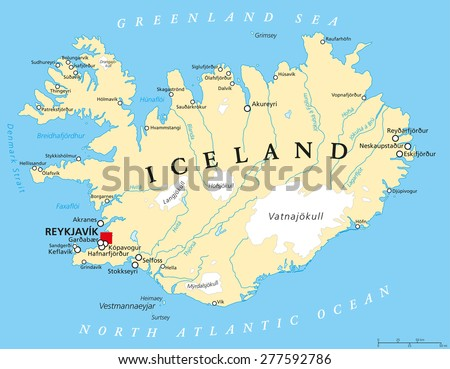 Iceland political map capital reykjavik national vector de iceland political map with capital reykjavik national borders important cities rivers lakes gumiabroncs Image collections