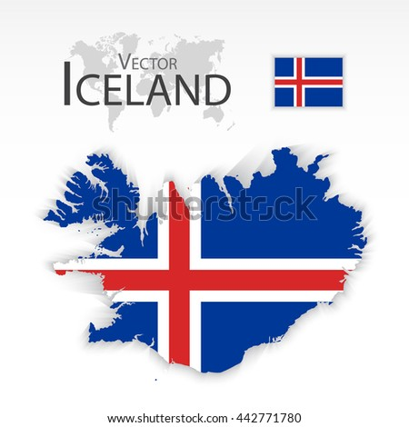Iceland  ( Republic of Iceland ) ( flag and map ) ( transportation and tourism concept )