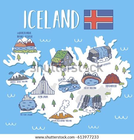 Iceland travel map vector illustration stock vector 613977233 iceland travel map ctor illustration sciox Gallery