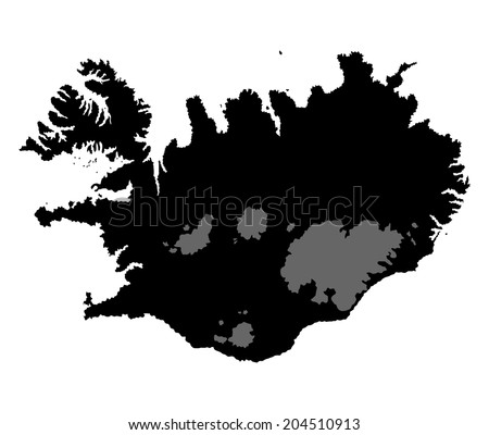 Iceland vector map isolated on white background silhouette. High detailed illustration.