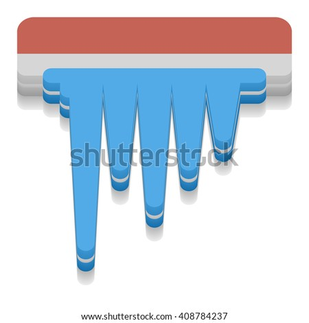 Icicle icon. 3D Style. Vector illustration Weather icon.