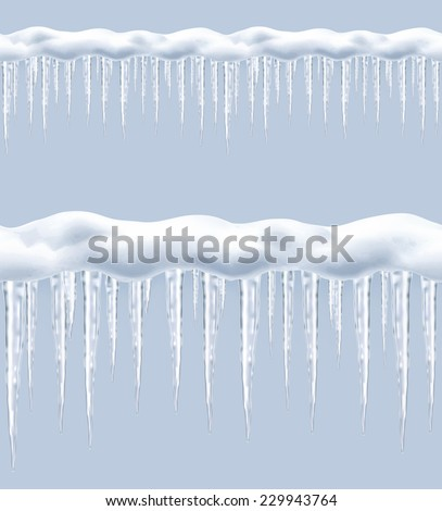Icicles, seamless border vector - stock vector