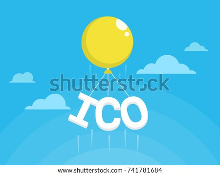 ICO fraud conceptual design. Initial coin offering concept vector illustration of yellow air balloon flying up in blue sky with ICO letters as a financial bubble and scam