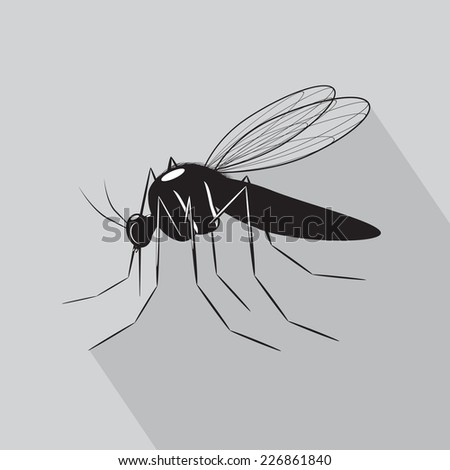 icon. A mosquito of black color on a gray background - stock vector