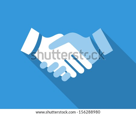 Icon about business concept in blue colors. Handshake - stock vector