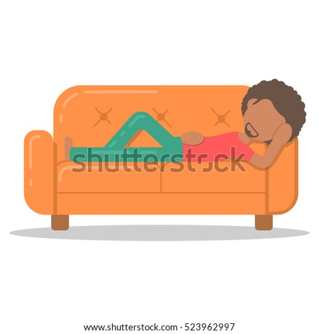 Lazy Person On Couch Cartoon Lazy Man On Couch Stoc...