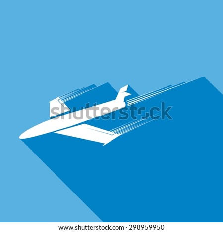 Icon airplane a long shadow - stock vector