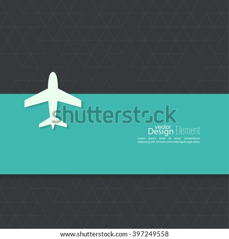 Icon airplane and banner for text. minimal. - stock vector