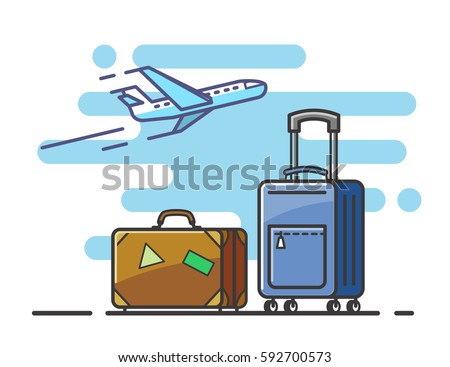 Icon airplane and suitcase travel and vacation outline
