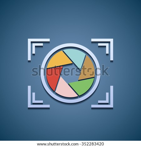 Icon aperture camera. Flat graphics. Stock vector illustration. - stock vector