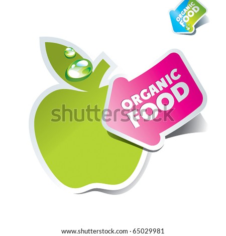 Icon apple with an arrow by organic food. Vector illustration. - stock vector