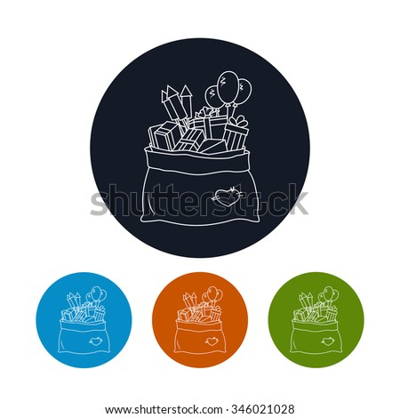 Icon Bag of Santa Claus with Gifts,Four Types of Colorful Round Icons a Bag with Gifts and Firecrackers and Balloons,   Icon Christmas Decorations, Icon in Linear Style ,  Vector Illustration - stock vector