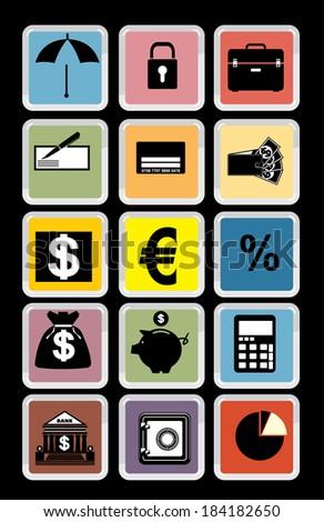 icon bank, vector - stock vector